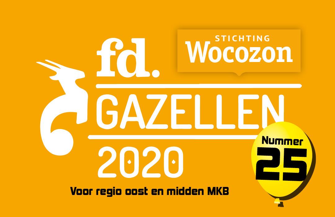 FD Gazellen 2020 - Wocozon plek 25 ranglijst snelst groeiende bedrijven regio Oost